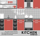 Постер, плакат: Modern kitchen interior in flat style