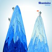 stock photo of mountain-climber  - mountain with alpinists  - JPG