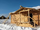 pic of olden days  - Construction of rural house - JPG