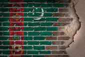 stock photo of turkmenistan  - Dark brick wall texture with plaster  - JPG