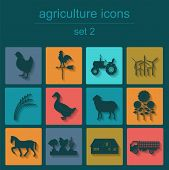image of animal husbandry  - Set agriculture animal husbandry icons - JPG