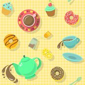 picture of tea party  - Bright colorful attractive seamless pattern with tea cups - JPG