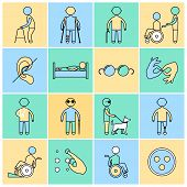 stock photo of disabled person  - Disabled people flat line icons set isolated vector illustration - JPG