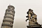 stock photo of cherub  - Statue of cherubs angel and Leaning Tower in Pisa - JPG