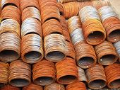 picture of coil  - Hot rolled steel coil stacked outside the yard - JPG
