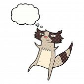 picture of raccoon  - cartoon raccoon with thought bubble - JPG