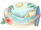picture of hibiscus  - Illustration of a Tropical Beach With a Surfboard and a Hibiscus on the Side - JPG