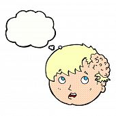 stock photo of ugly  - cartoon boy with ugly growth on head with thought bubble - JPG