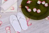 stock photo of wet feet  - Spa bowl with water - JPG