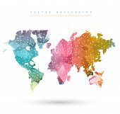 stock photo of earth  - Vector Abstract Telecommunication Earth Map - JPG