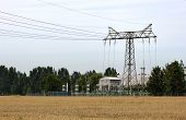 stock photo of relay  - Small industrial relay station on a grain field.