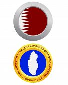 image of qatar  - button as a symbol QATAR flag and map on a white background - JPG