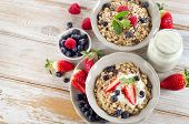 picture of breakfast  - Muesli ripe berries and yogurt for healthy breakfast on a wooden table - JPG