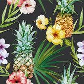 image of hibiscus  - Beautiful watercolor vector tropical pattern with pineapples and hibiscus - JPG