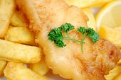 stock photo of hake  - Traditional english fish and chips takeaway meal - JPG