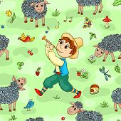 picture of shepherds  - Seamless pattern with shepherd - JPG