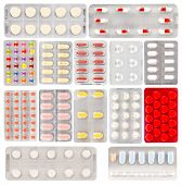 foto of blisters  - Set of pills in a plastic blister packages on white background - JPG