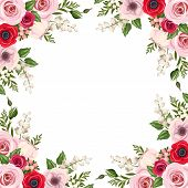 picture of lily  - Vector frame with red and pink roses - JPG