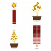 pic of chinese crackers  - Fire Crackers and Coins Tree Pot for Chinese New Year Vector Illustration - JPG