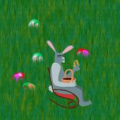 picture of lawn chair  - Gray rabbit on rocking chair front grass lawn with hidden easter eggs - JPG