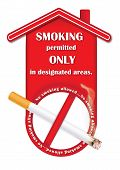 foto of smoking  - No smoking sign containing a realistic lighting cigarette and the text - JPG
