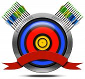 pic of archery  - Archery icon with blue red and yellow target a set of arrows empty red ribbon isolated on white background - JPG