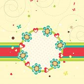 picture of corazon  - Beautiful greeting card decorated by red hearts and flowers for Happy Valentine - JPG