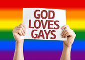 image of god  - God Loves Gay card with Rainbow flag background - JPG