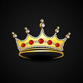 foto of pageant  - Stylish gold crown decorated with diamonds on black background - JPG