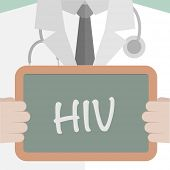 foto of hiv  - minimalistic illustration of a doctor holding a blackboard with HIV text - JPG