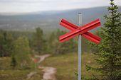 picture of nordic skiing  - Ski trail marking on Swedish mountain path - JPG