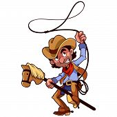 stock photo of lasso  - Cowboy with lasso on a stick - JPG