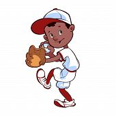 picture of ball cap  - Baseball player with ball and glove on a white background - JPG