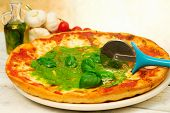 picture of pesto sauce  - pizza with pesto SAUCE AND BASIL LEAVES - JPG