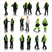 pic of worker  - Set of construction workers silhouettes isolated on white - JPG