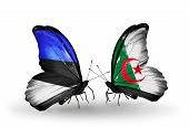 image of algeria  - Two butterflies with flags on wings as symbol of relations Estonia and Algeria - JPG