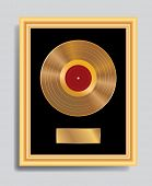 image of lp  - vector golden LP in golden frame - JPG