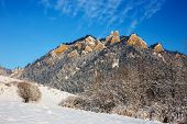 pic of pieniny  - Winter landscape in Pieniny Mountains Three Crowns Poland - JPG