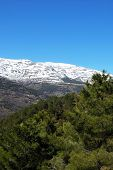 foto of snow capped mountains  - View over the mountainous landscape towards the snow capped Sierra Nevada Trevelez Las Alpujarras Granada Province Andalucia Spain Western Europe - JPG