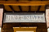 picture of funeral  - Vintage Funeral Service cartel made of wood - JPG