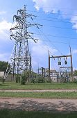 picture of mast  - Mast electrical power line on a sunny day - JPG