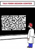 picture of maze  - Cartoon of government worker looking at huge maze in the tax form design center - JPG