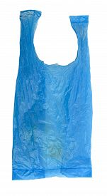 foto of non-biodegradable  - Blue polyethylene bag isolated on white Background - JPG