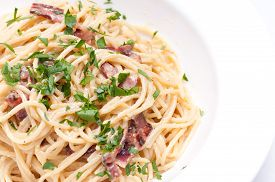 pic of carbonara  - spaghetti carbonara pasta alfredo sauce with bacon - JPG