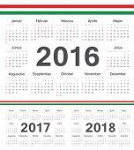 foto of hungarian  - Vector Hungarian circle calendars 2016 2017 2018 - JPG