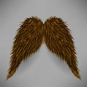 stock photo of rogue  - Brown Hairy Mustache Isolated on Grey Background - JPG