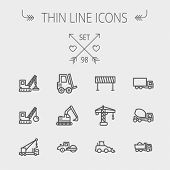 stock photo of dump-truck  - Construction thin line icon set for web and mobile - JPG