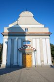 stock photo of chapels  - The facade baroque chapel in Ostrzeszow in Poland - JPG
