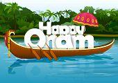 foto of onam festival  - vector illustration of Happy Onam wallpaper background - JPG