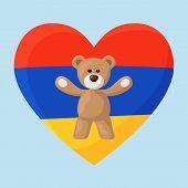stock photo of armenia  - Teddy Bears with heart with flag of Armenia - JPG
